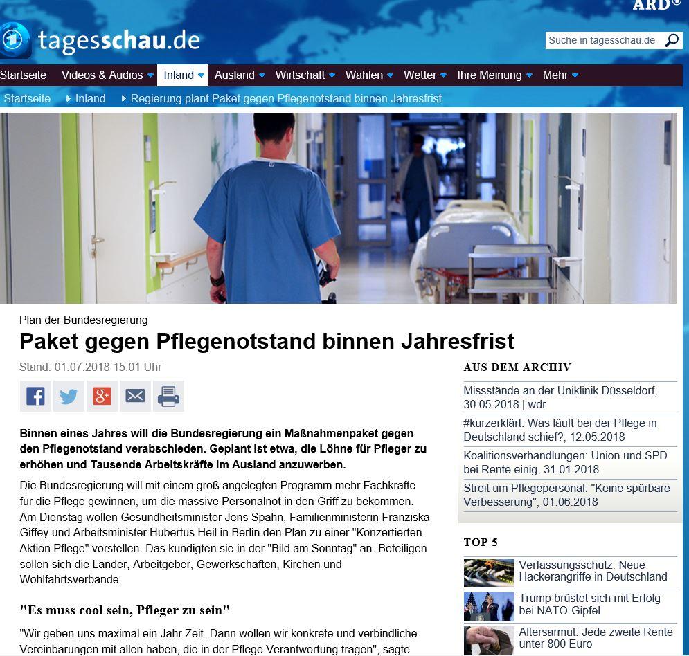 ARD-Berricht zum Pflegenotstand (Screenshot)